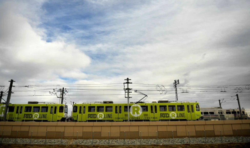 light rail with blue sky and clouds