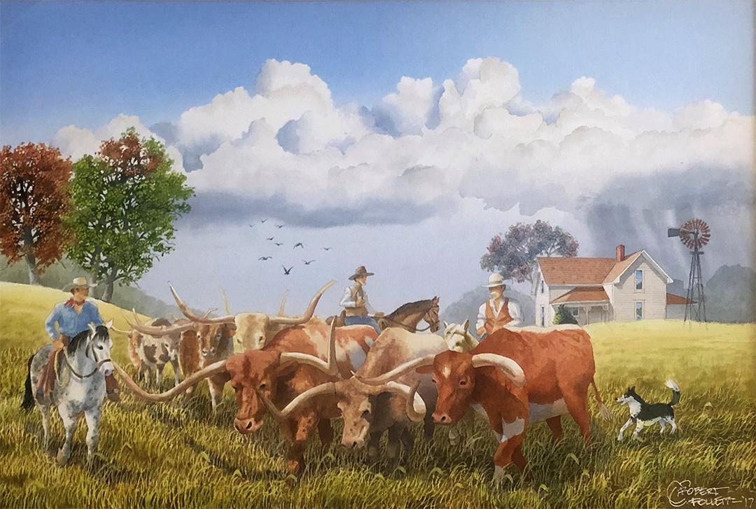 Robert Follett, mixed media on illustration board