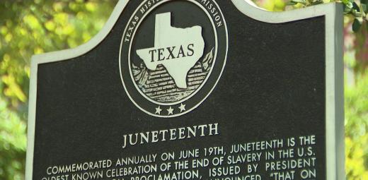 Juneteenth plaque in Texas