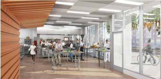 A rendering of the new CHEFS kitchen at 1064 Mission